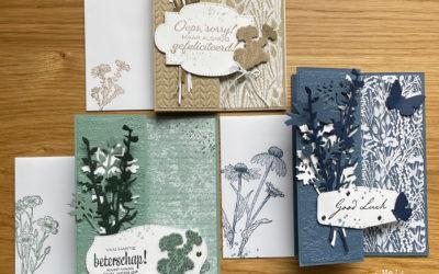 Monochromatic kaarten met Harvest Meadow DSP als basis